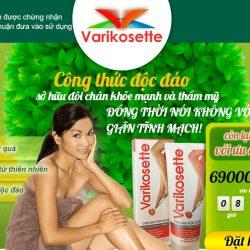 mẫu website thực phẩm chức năng kem Varikosette
