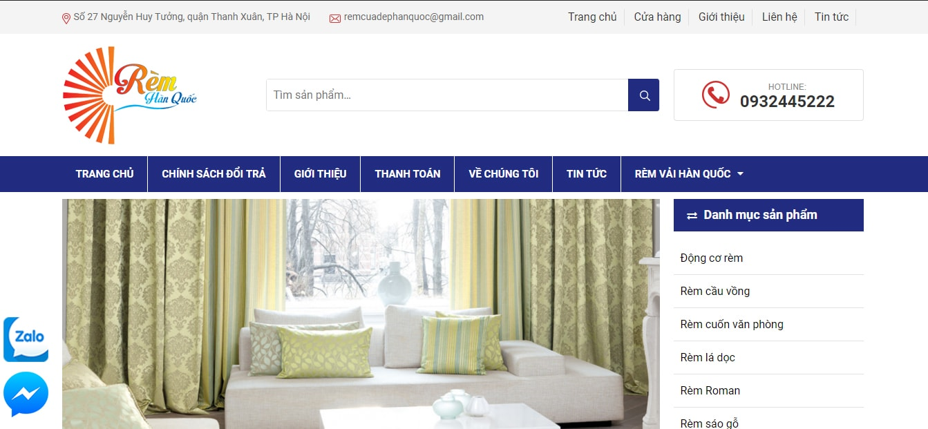 Mẫu website bán rèm cửa TKW239
