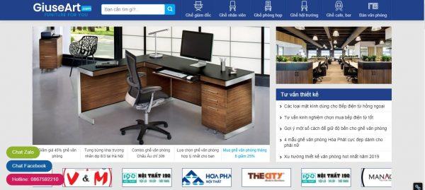 Mẫu website thiết kế nội thất ghế văn phòng TKW237