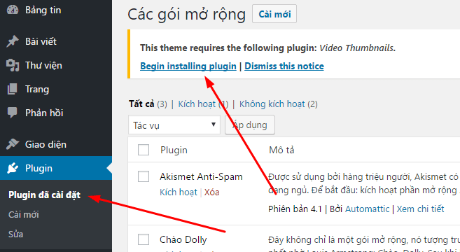 Cài đặt plugin Video Thumbnails