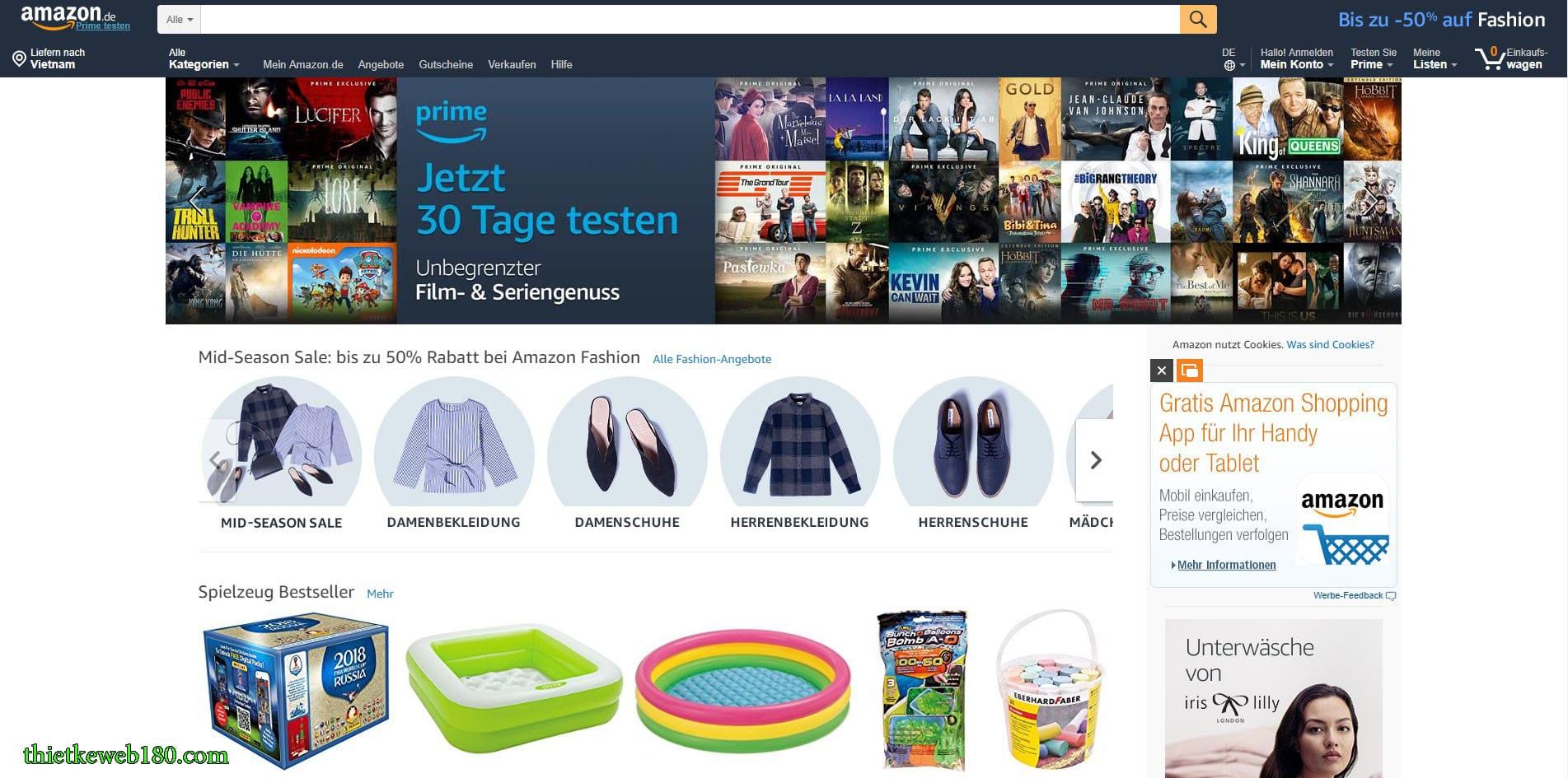Các web bán hàng online ở Đức Amazon