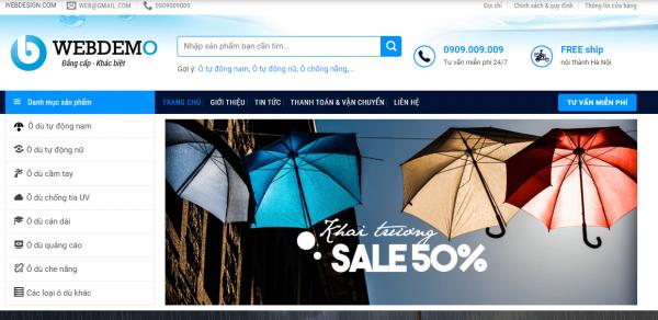 Mẫu website bán áo mưa TKW254