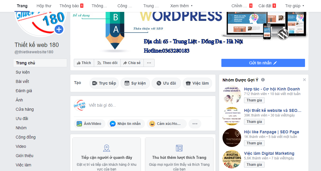 Thực hiện tạo fanpage trên facebook