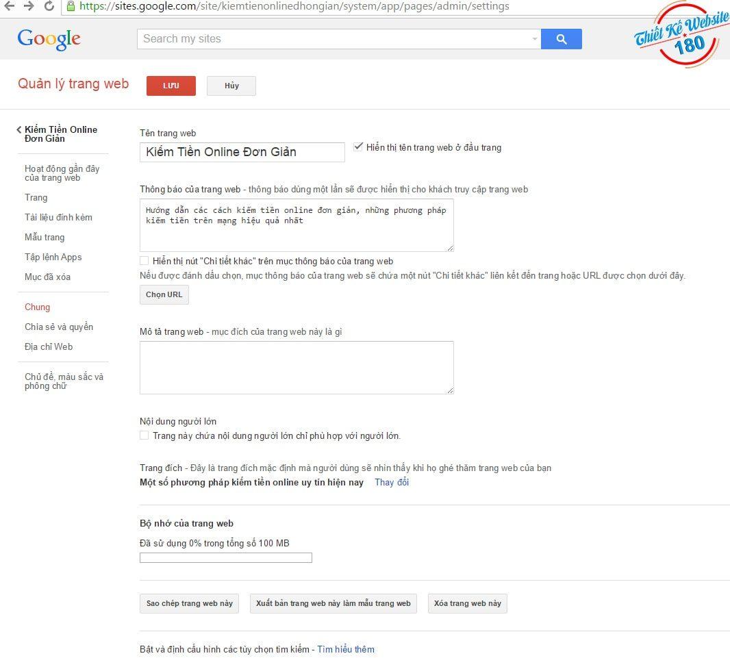 Tạo website đơn giản miễn phí với Google site