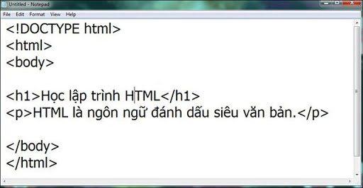 Chép dòng lệnh code vào Notepadhtml notepad.