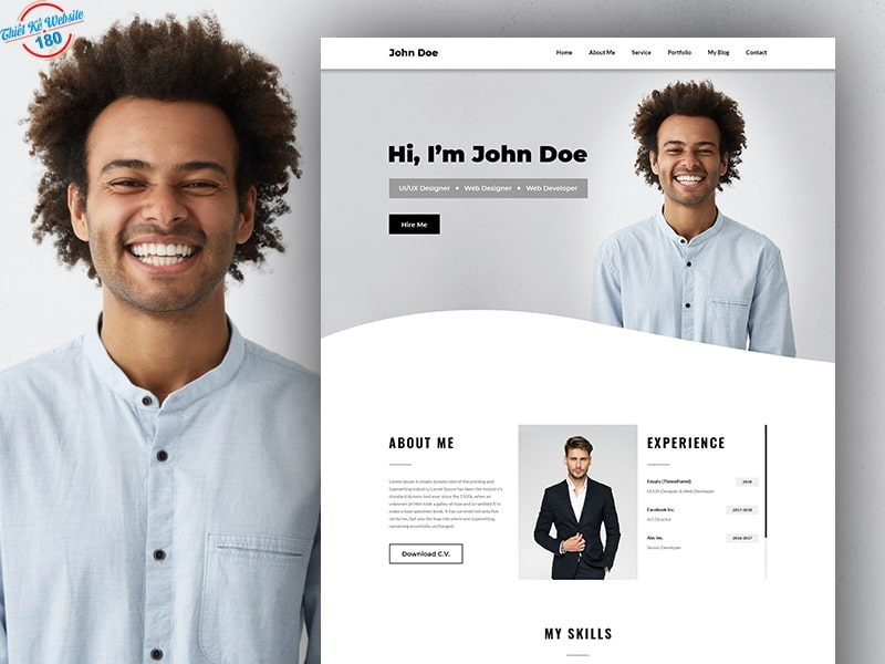 Mẫu trang web cá nhân đẹp - John Doe