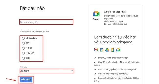 Cách tạo email theo tên miền trên google miễn phí - Bước 2