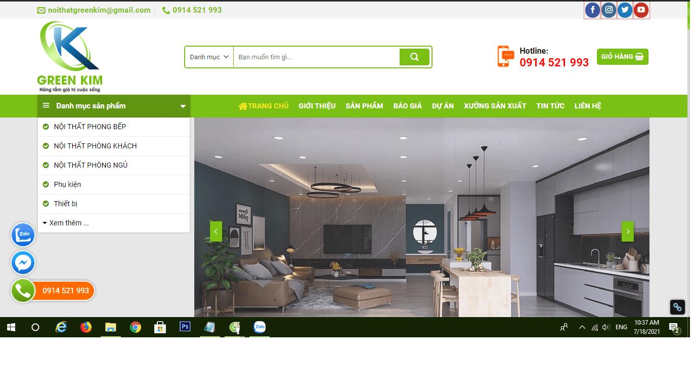 Mẫu website bán nội thất TKW256